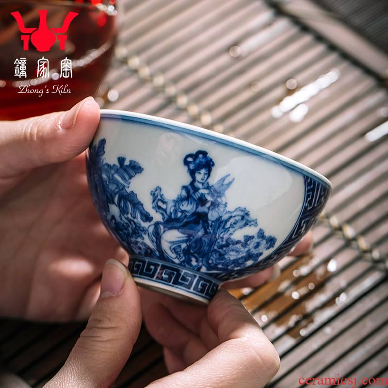 Clock home trade, one cup of single CPU jingdezhen blue and white porcelain teacup maintain characters had kung fu tea cups individual cup