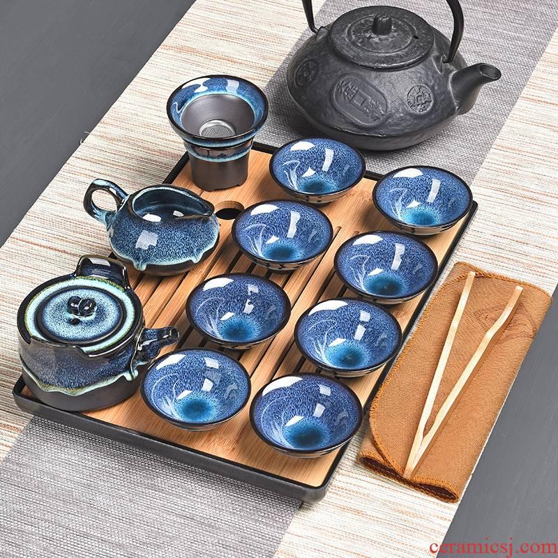 Construction of a complete set of lamp up ceramic temmoku droplets blue amber glaze sample tea cup cup teapot kung fu tea set home