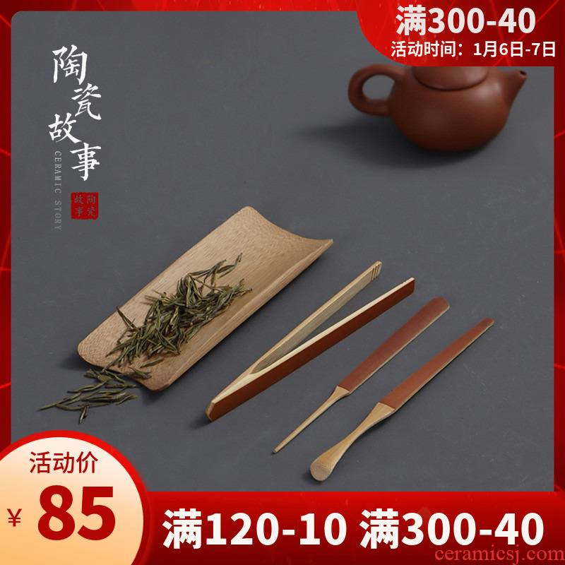 Ceramic checking bamboo tea story is ChaGa ChaBo ChaZhen four dresses kung fu tea accessories 6 gentleman