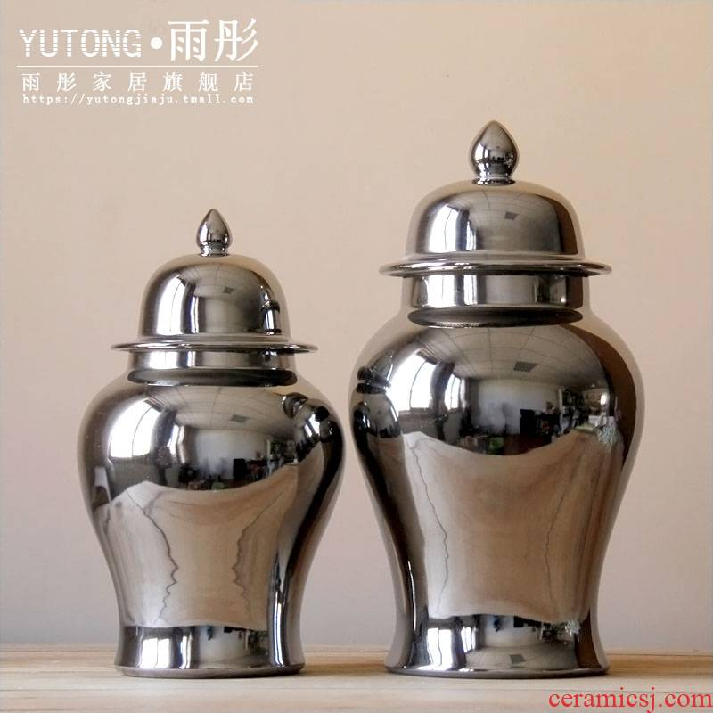 Booking with jingdezhen ceramic gold - plated silver pot - bellied general tank storage tank manual home furnishing articles in the living room