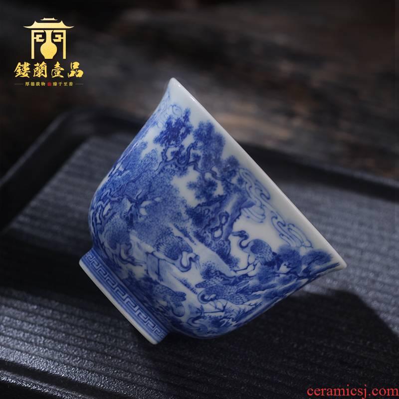 Jingdezhen ceramic all hand - made porcelain of Haitian group of crane master cup tea cup kung fu tea set single cup sample tea cup