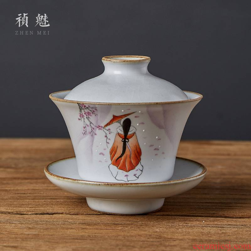 Shot incarnate all hand your up hand - made beauty three just tureen jingdezhen ceramic cups kung fu tea tea bowl