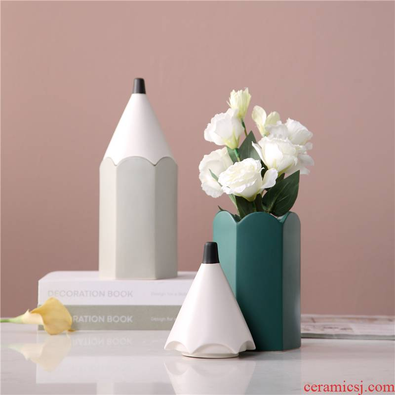 To run ins modern creative pencil soft adornment children room decoration interest the receive ceramic pen container storage tank