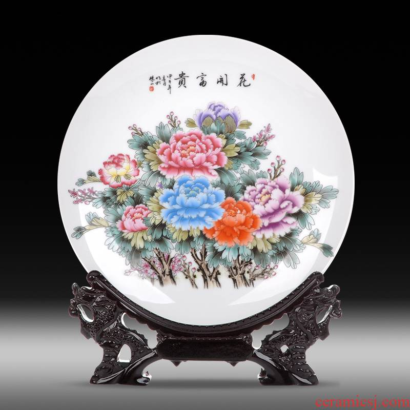 Jingdezhen ceramics sits hang dish plate blooming flowers sitting room decoration plate of new Chinese style adornment desktop furnishing articles