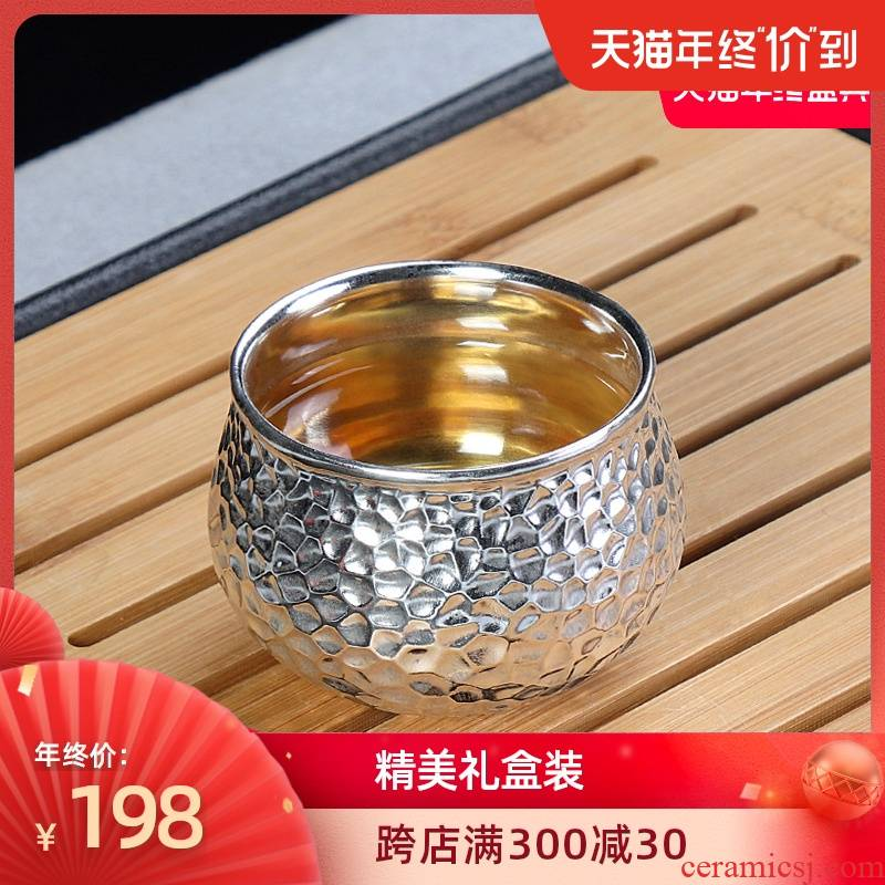Artisan fairy tea tasted silver gilding ceramic cups, pure manual Japanese household kung fu tea cups master cup for cup