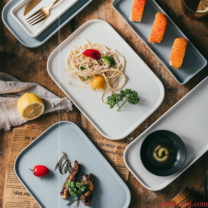 Cake matte enrolled glaze rectangular plate sushi plate pallet Nordic snack plate of Japanese plate of chicken wings for ceramic tableware