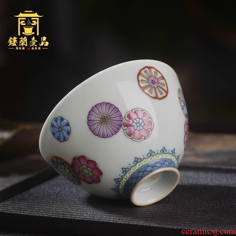 Jingdezhen ceramic all hand - made pastel ball take master cup kunfu tea, tea cup sample tea cup individual single CPU