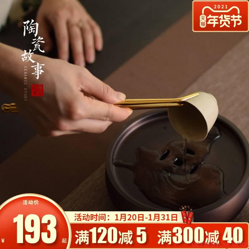Pure copper plating of high - grade ceramic story clip tea cup tea tweezers cup holder antiskid tea tea accessories
