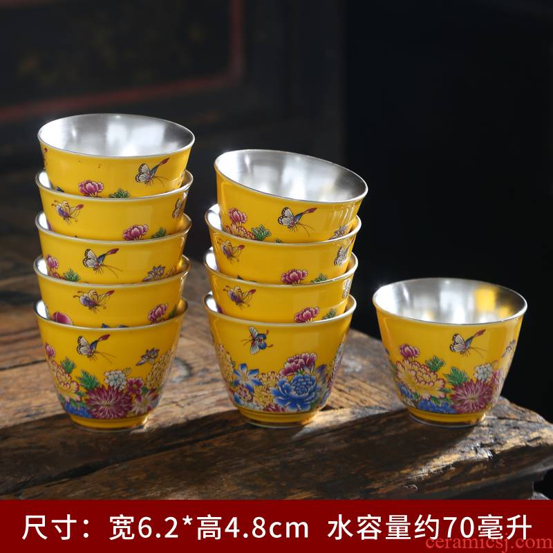 Silver colored enamel craft built 999 sterling Silver cup lamp cups tea set small ceramic hat to big master sample tea cup