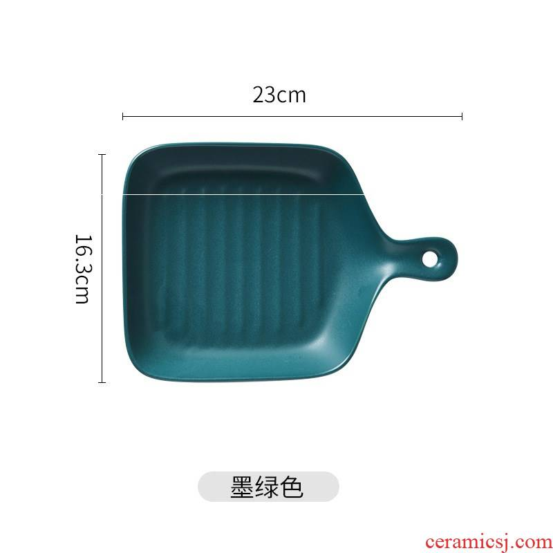Micro defects ceramic plate paella is cheese plate of large rectangle pan pizza baking oven, microwave oven is special