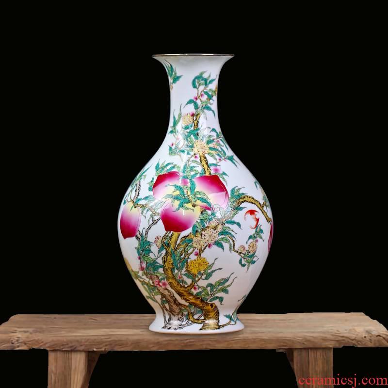 Jingdezhen pastel peach flower vase figure mesa nine sitting room of Chinese style household ceramics furnishing articles birthday birthday gift