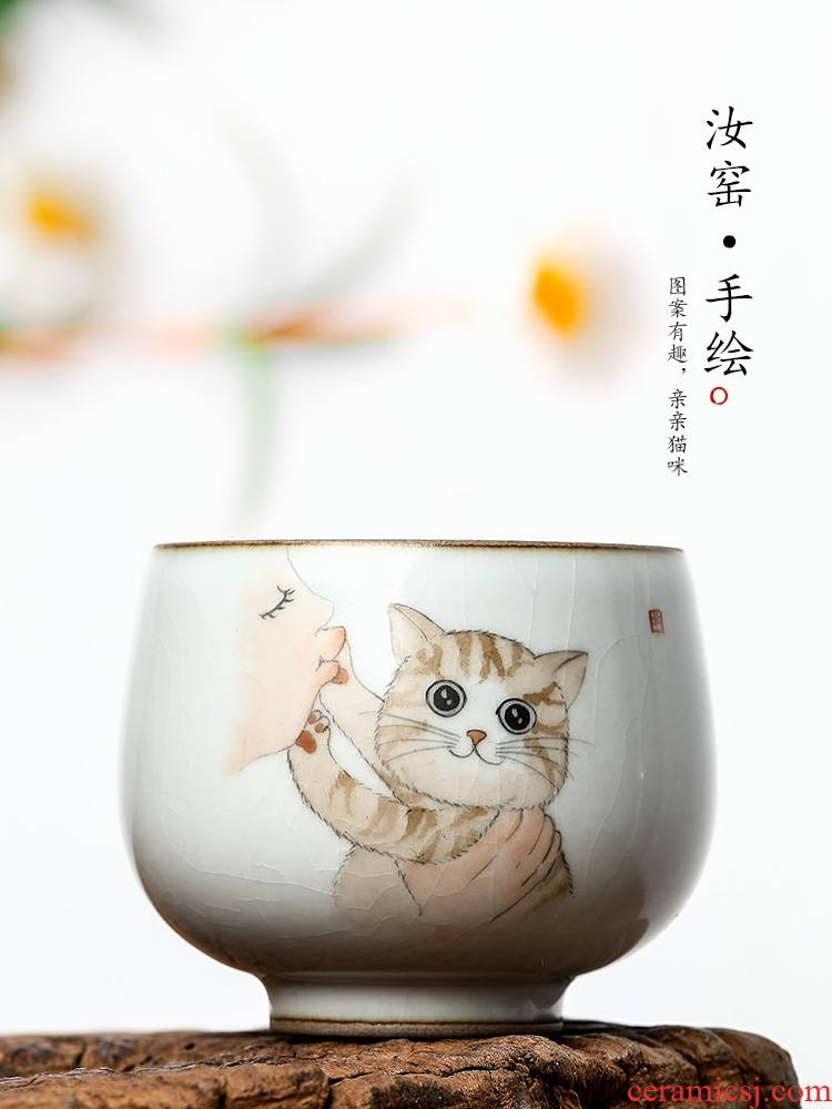 Ru up market metrix who cup pure manual jingdezhen ceramic kung fu tea cup single sample tea cup single CPU hand - made the cat bowl