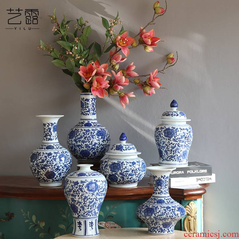 Jingdezhen blue and white porcelain, general sitting room place hand - made ceramic vase can of new Chinese style TV ark, decorative vase
