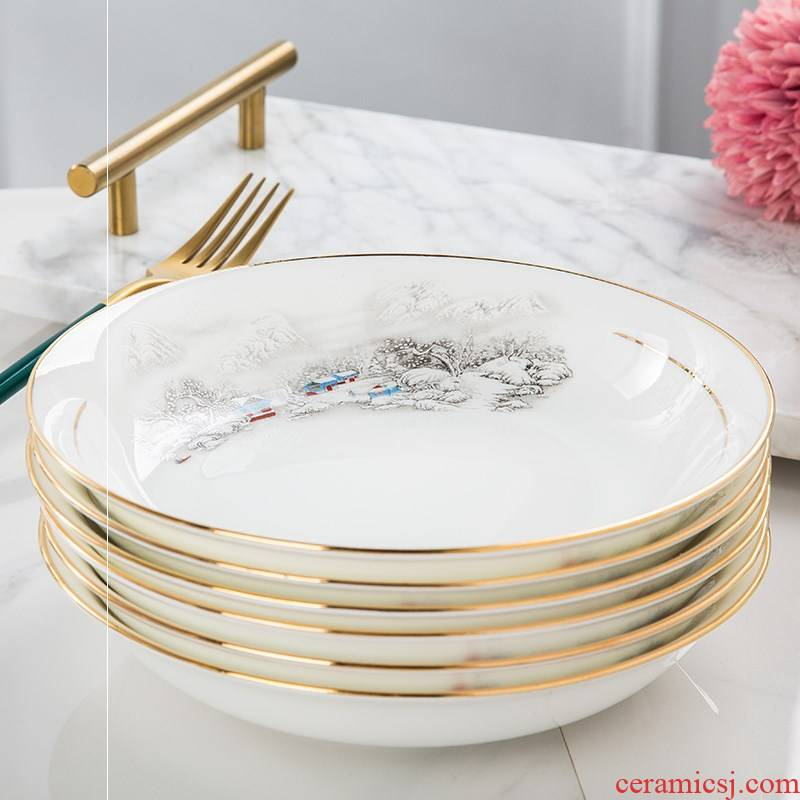 7.5 inch tableware ceramic ipads China household food dish plate LIDS, deep dish of rice dishes in up phnom penh high - grade jingdezhen