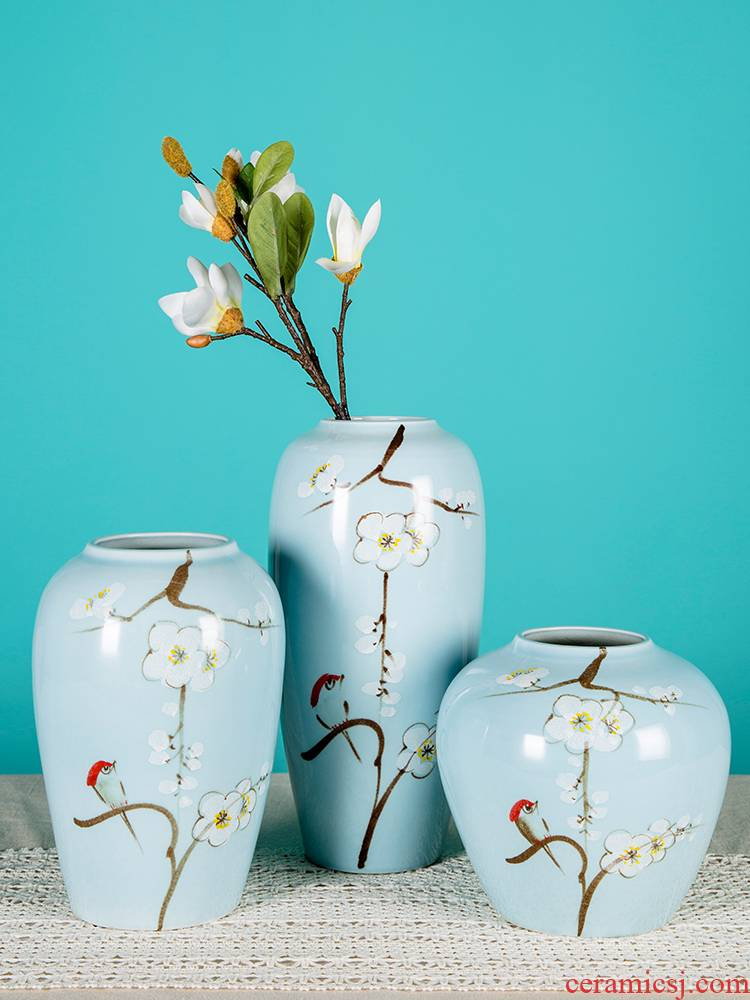 Flower arranging dried flowers of jingdezhen ceramics floret bottle furnishing articles sitting room of new Chinese style household adornment handicraft TV ark