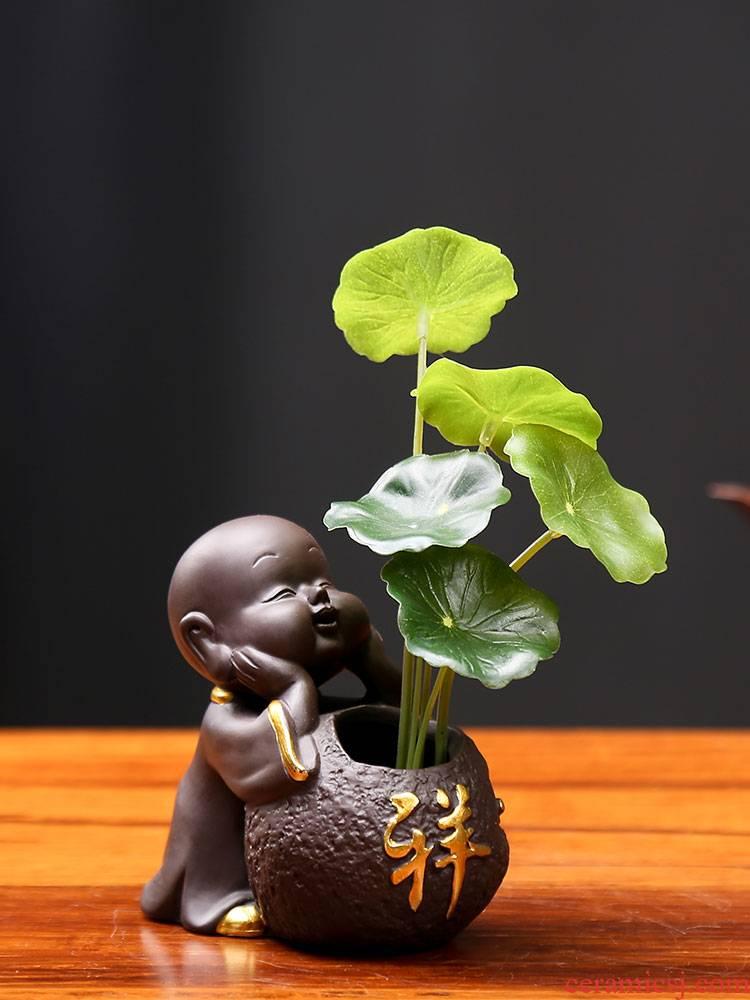 Purple sand tea pet plutus exquisite furnishing articles on tea table decorations mini floret small zen monk tea accessories