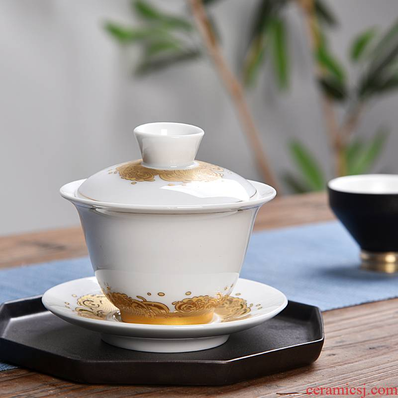 Hui shi tureen ceramic bowl tea cups large only three tureen kunfu tea hand grasp pot of high - white tea