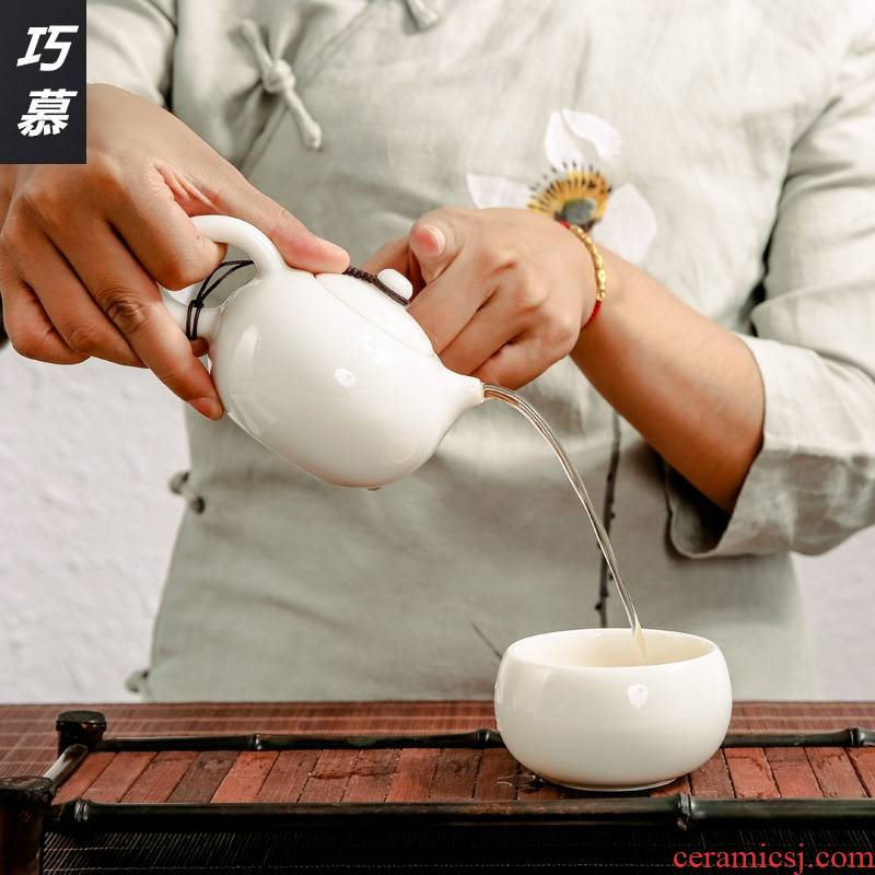 Qiao mu brand dehua white porcelain jade China kung fu tea set a pot of two cups of ceramic household restoring ancient ways to travel