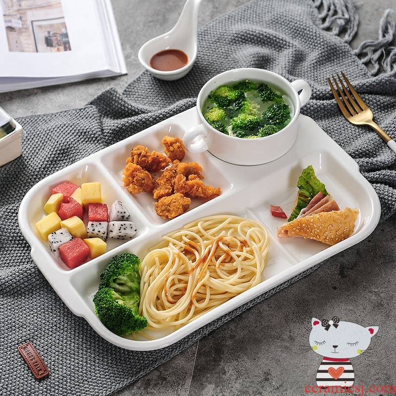 Pure white plate children tableware ceramics creative breakfast dish bowl, lovely household space frame plate fast food plate
