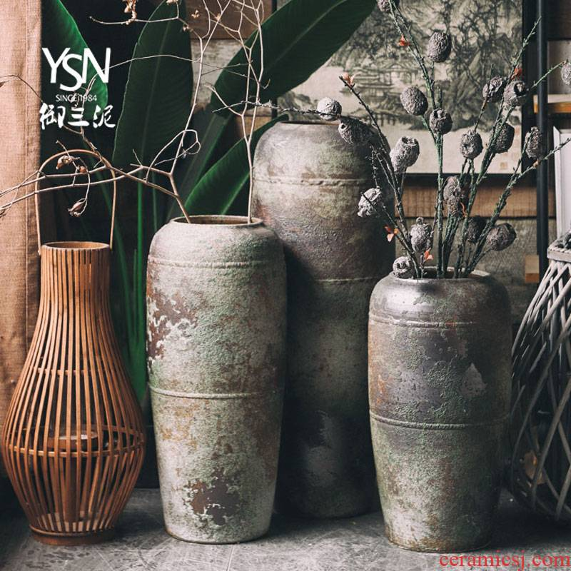 Royal three coarse pottery mud retro zen ceramic floor furnishing articles pottery vases, flower arranging dried flowers to decorate the sitting room, study