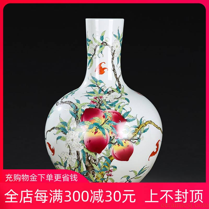 Jingdezhen ceramic antique peach ground vase Chinese rich ancient frame decorative porcelain furnishing articles large living room