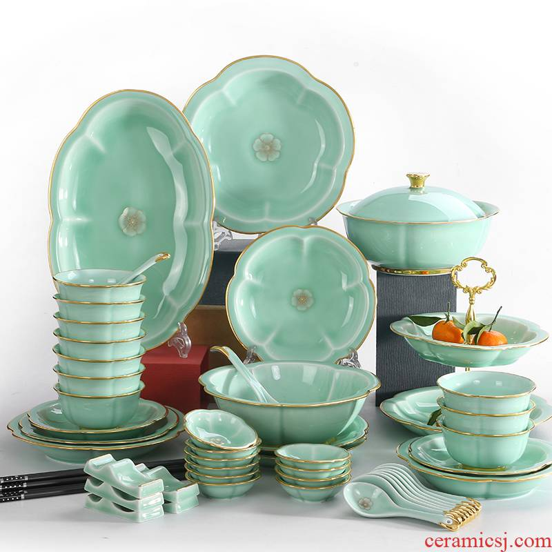 Red xin dishes suit Chinese style up phnom penh high - end dishes combination of jingdezhen ceramic celadon tableware suit wing chun