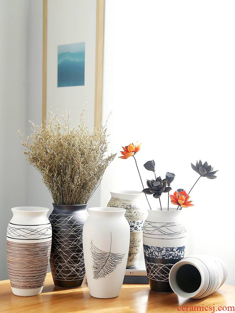 Jingdezhen ceramic vases, I and contracted creative light sitting room European - style key-2 luxury home decoration dry flower arranging flowers is placed
