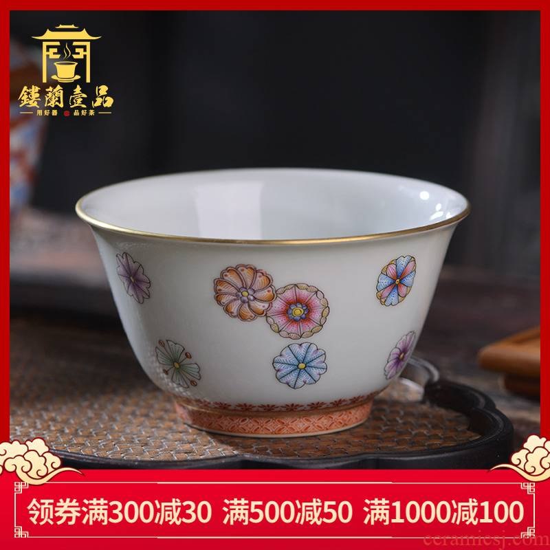Jingdezhen TaoQuan hand - made pastel ball flower master cup tea cup single cup from the individual sample tea cup