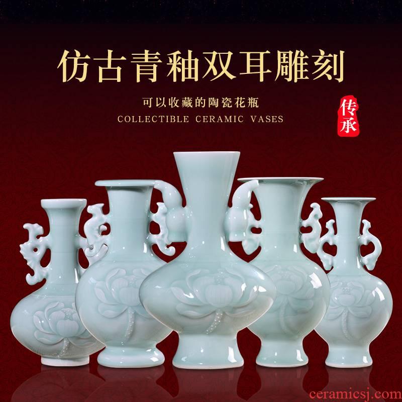 Jingdezhen ceramics creative shadow blue glaze ears vases, flower arranging household adornment handicraft decoration gifts