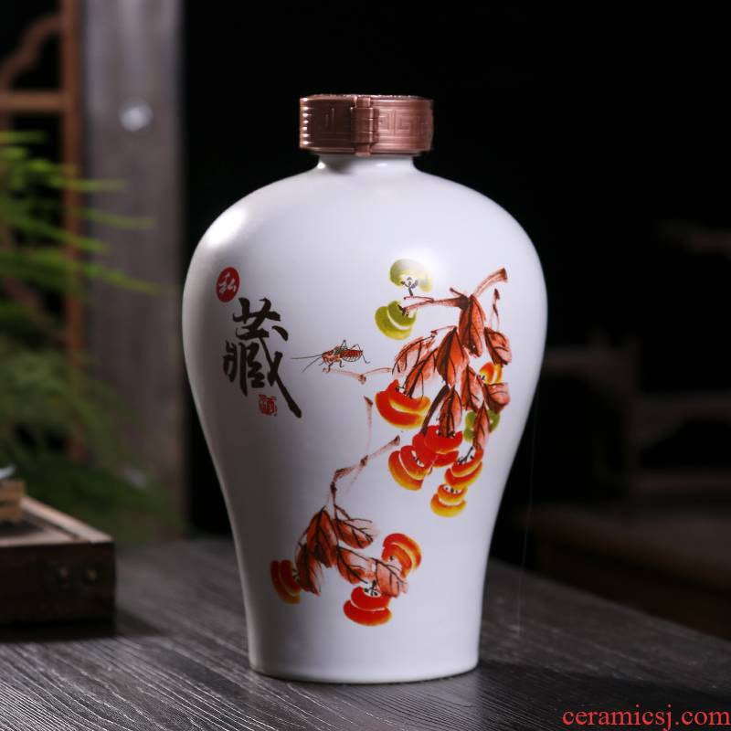 Jingdezhen ceramic bottle wine pot 1 catty 2 jins of 3 kg 5 jins of ten catties small jar sealing liquor bottles