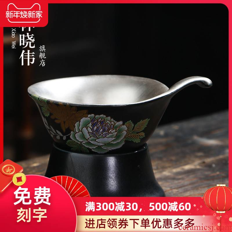Creative ceramic coppering. As silver screen screen pack pure silver 999 tea strainer tea every tea, kungfu tea accessories