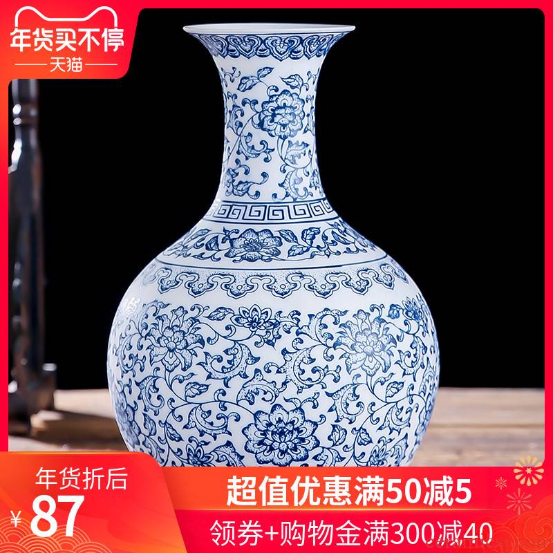 Jingdezhen ceramic vase large thin foetus pervious to light blue and white porcelain crafts antique decoration pieces of home decoration in the living room