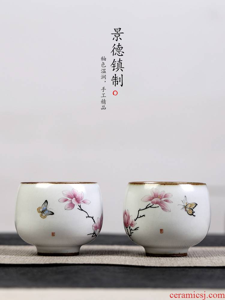 Jingdezhen your up on hand - made demand master kung fu tea cup of pure manual single CPU ceramic sample tea cup
