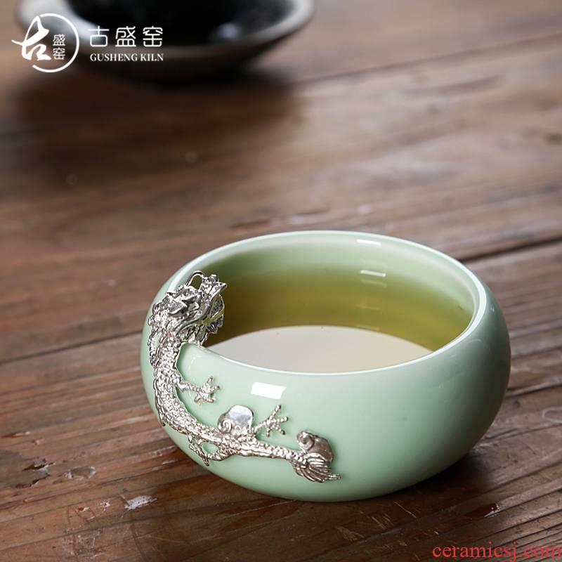 The ancient bowl new up celadon tea tea set, ceramic Mosaic silver, silver dragon sample tea cup tea cup personal master CPU