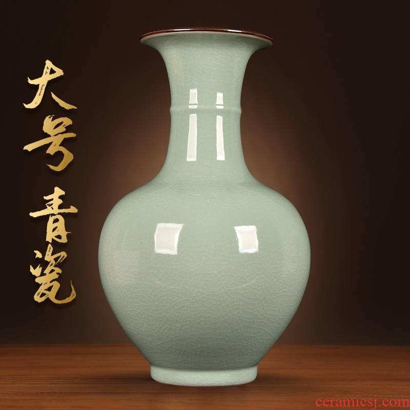 Jingdezhen ceramics celadon large vases, antique Chinese style living room TV cabinet flower arranging household porcelain porch place