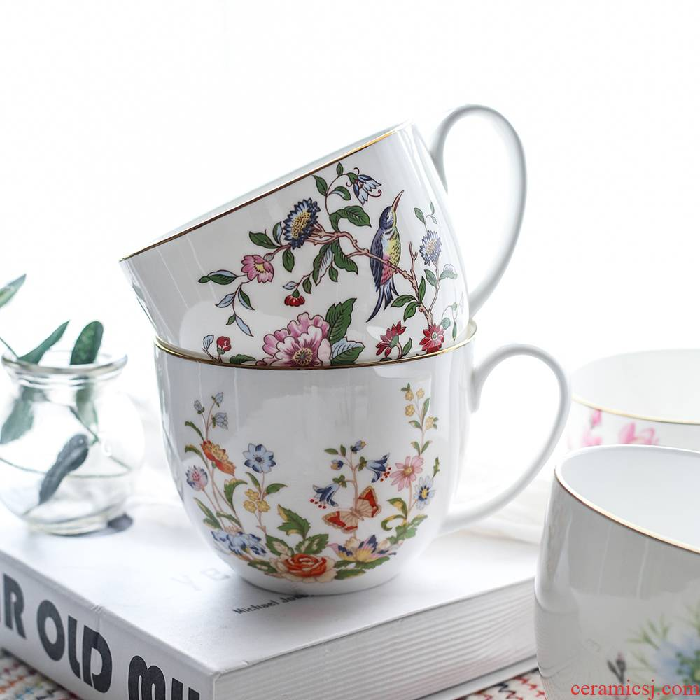 Ipads China high - grade household breakfast cereal milk cup European creative ceramic mugs with cover spoon gifts gifts