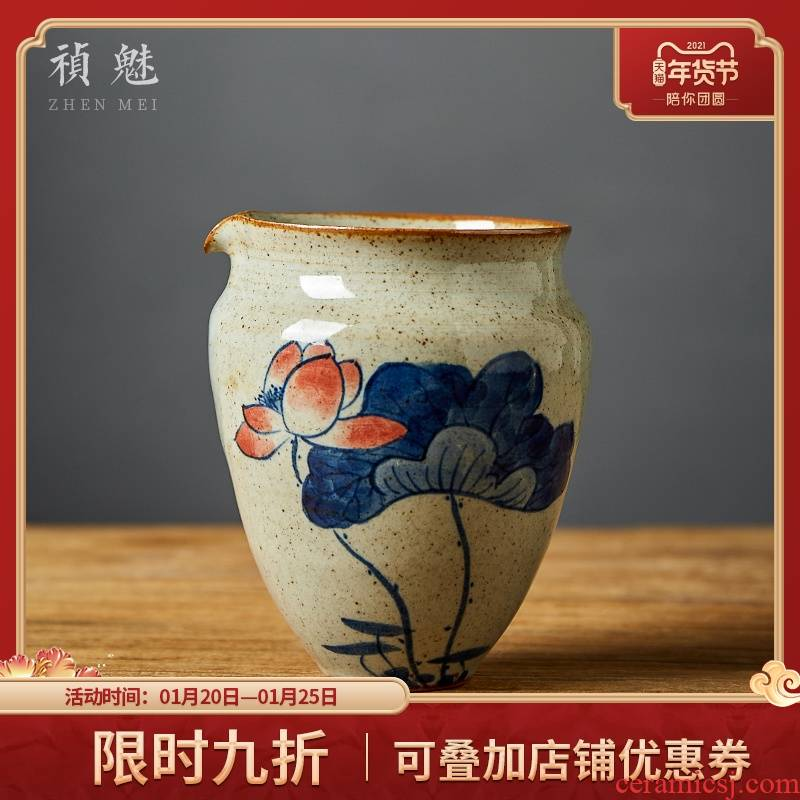Blue and white large jingdezhen ceramic fair keller shot incarnate the hand - made kung fu tea tea accessories and a cup of tea sea points