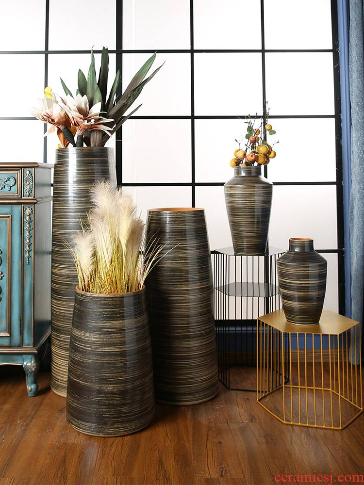 Jingdezhen ceramic furnishing articles restoring ancient ways of large vase sitting room decoration to the hotel restaurant dried flower arranging flowers porcelain clay