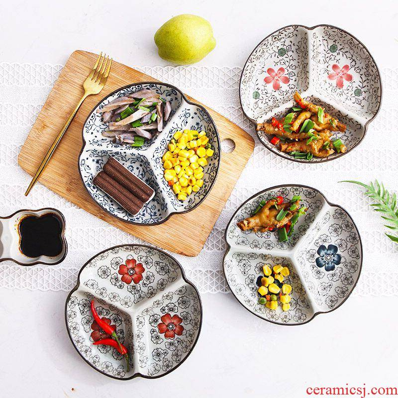 The Japanese kitchen ceramic tableware frame plate cent eat breakfast dishes creative household food dish platter children separated