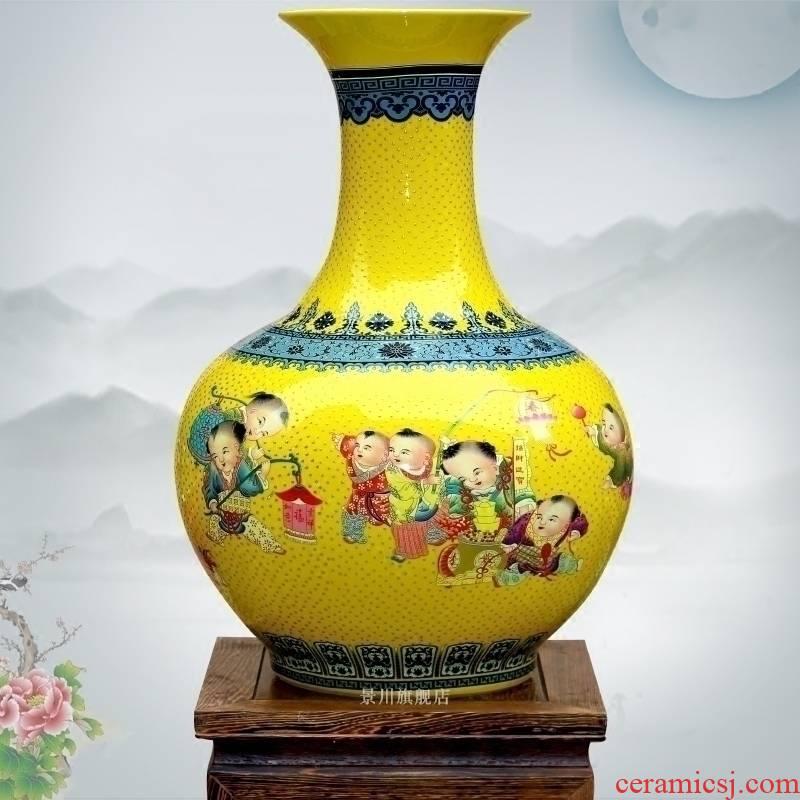 Jingdezhen famille rose porcelain lad make spring big vase home sitting room floor furnishing articles of modern classic craft ornaments