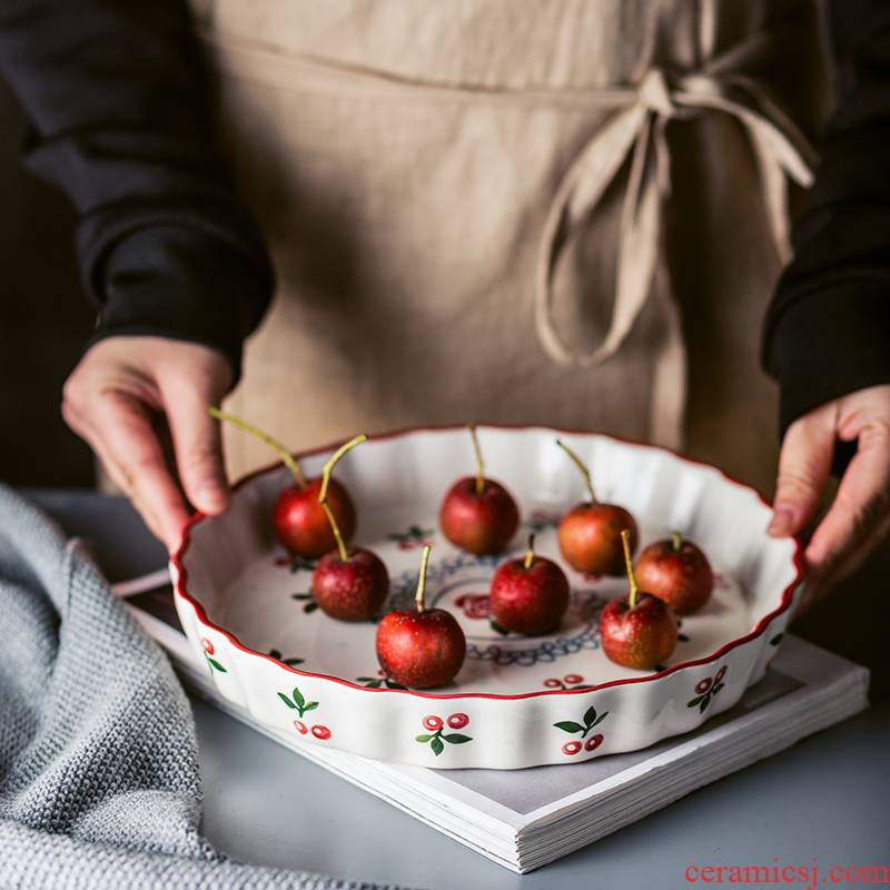9.5 inch Hand - made under glaze color cherry, lovely ceramic pie pan pan household oven with large soup plate round plate