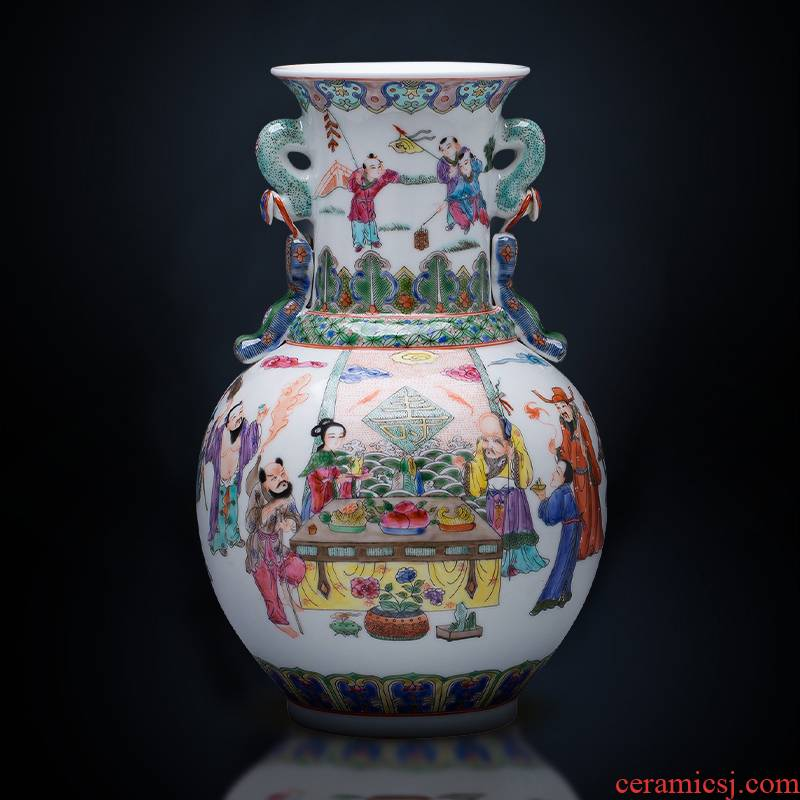 Jingdezhen ceramics hand - made porcelain vase characters of modern Chinese style home wine sitting room adornment is placed