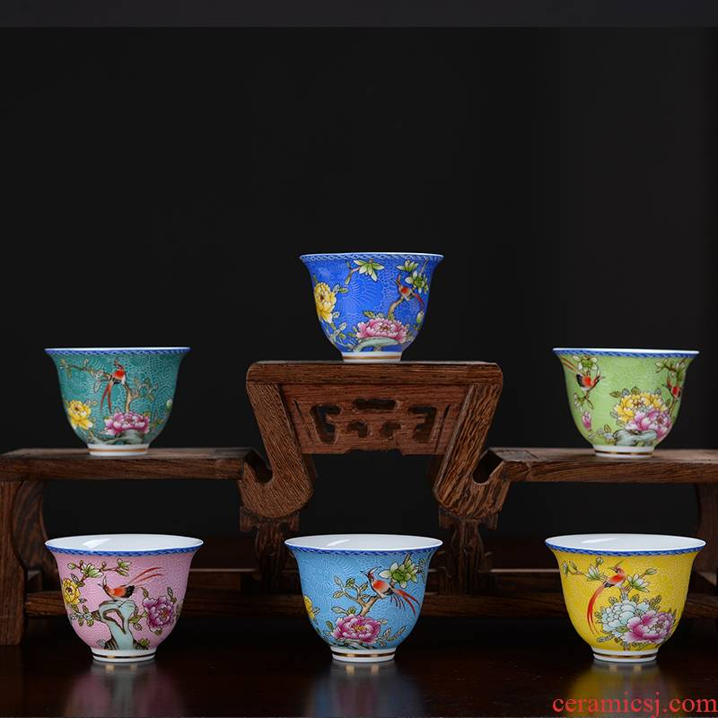 Hui shi grilled ceramic flower tea colored enamel flower sample tea cup masters cup bowl kung fu tea cup pick flowers cup