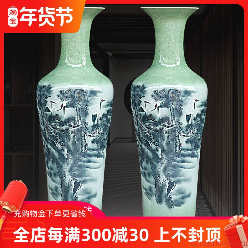 Pine crane live color ink film qdu vase of jingdezhen ceramics home sitting room floor furnishing articles of new Chinese style act the role ofing is tasted