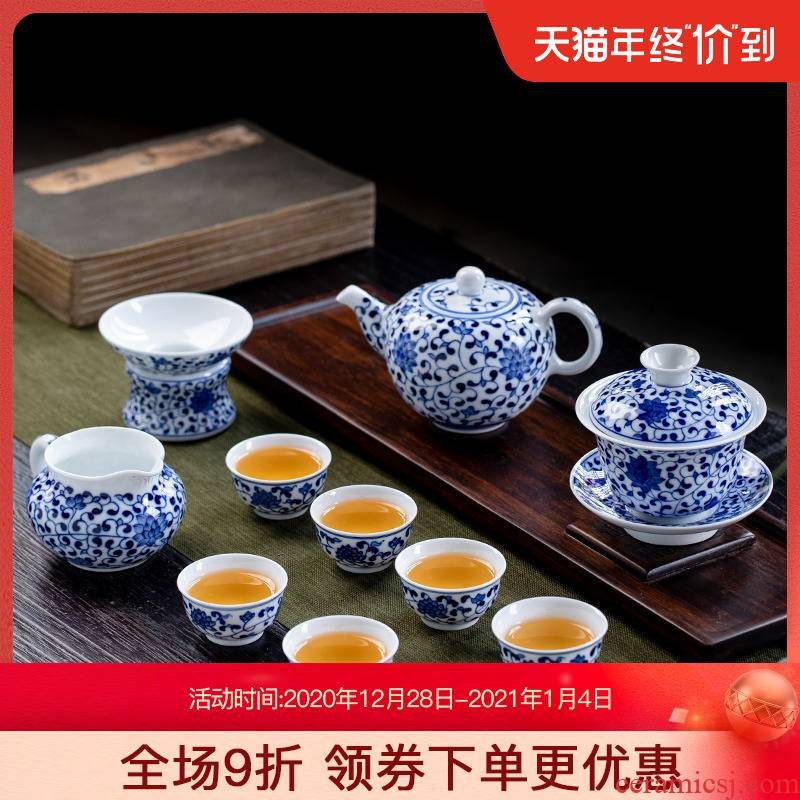 Hand - made 8 head kung fu tea set jingdezhen ceramic tea set a set of household small sets of the teapot teacup tureen