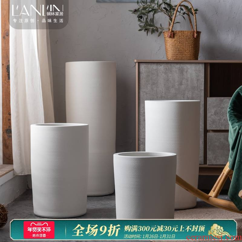 Jingdezhen ceramic flower pot Nordic contracted white green plant cylinder indoor decorative furnishing articles large landing clearance vase