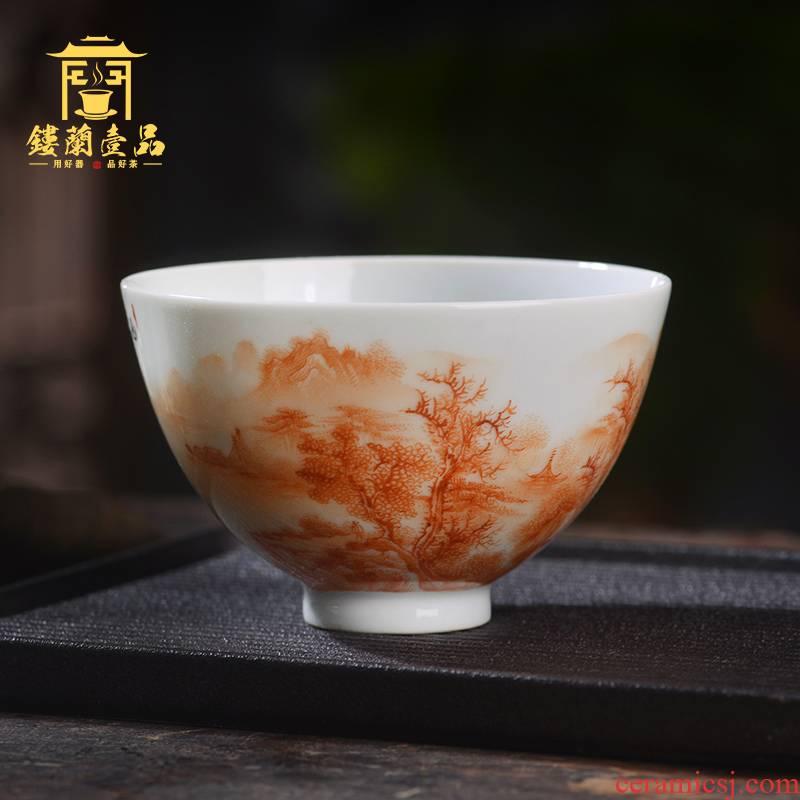 Jingdezhen ceramic all hand - made alum red cixin qiu - yun shan master cup kung fu tea cup personal tea cup bowl
