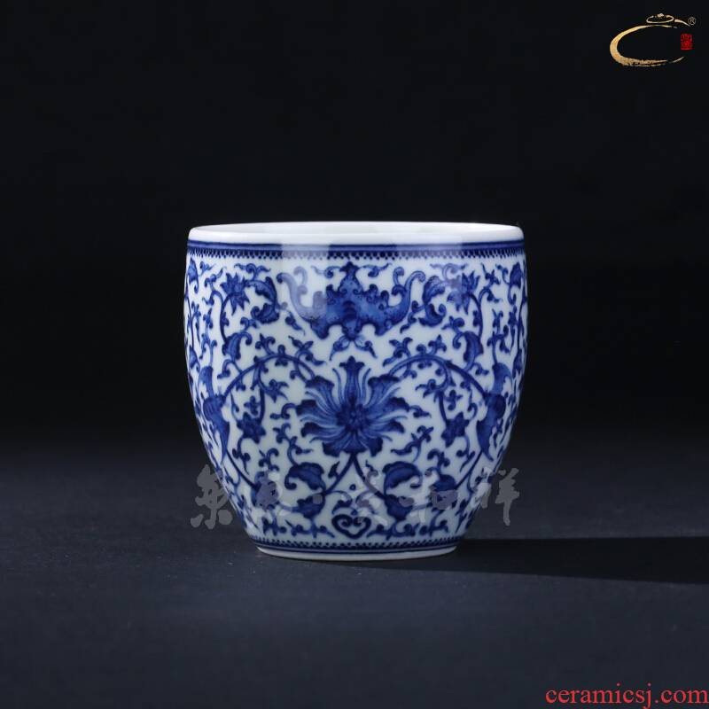 Jingdezhen and auspicious hand - made single cup tea green Hualien cup pure manual master cup collection sample tea cup