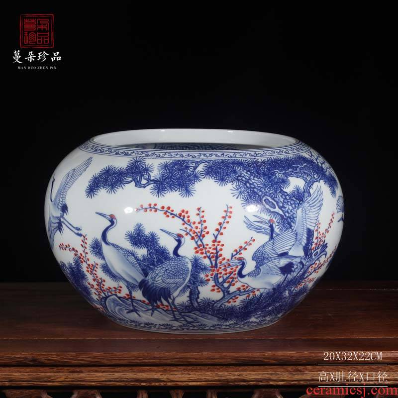 Blue and white double cranes peony writing brush washer from jingdezhen Blue and white porcelain porcelain basin display writing brush washer water shallow small cylinder