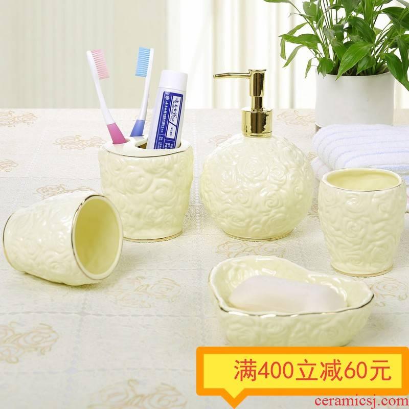 The Set ou shi wei yu five creative ceramic wash gargle suite bathroom wedding gift Set practical gift